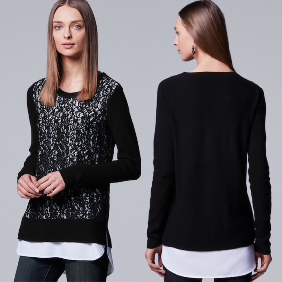 6badda4d52e595 Simply Vera by Vera Wang Lace Twofer Sweater